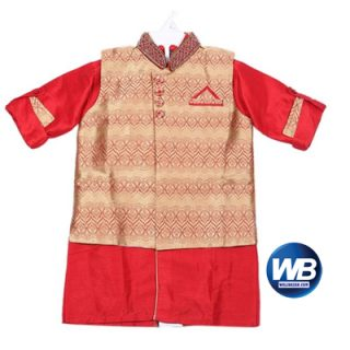 ZAARA Red and Golden Katan Casual Kurta For Boys