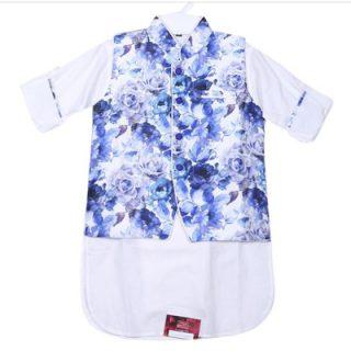 ZAARA White and Blue Cotton Casual Kurta For Boys -