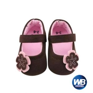 Zarossa Brown And Pink Cotton Shoe For Baby