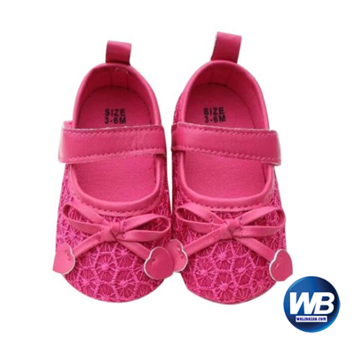 Zarossa Deep Pink PU Leather Shoe For Baby