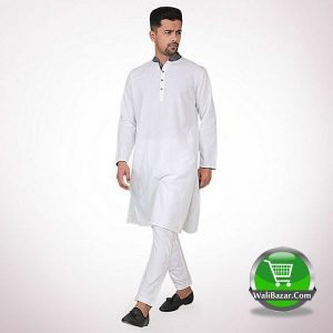 White Cotton Panjabi Tanjim by Ecstasy