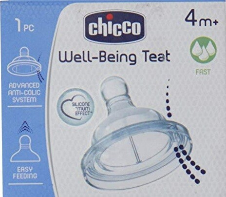 Chicco Wellbeing Silicon Fast Flow Teat (White) 1pc
